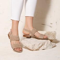 Damskie sandały zamszowe pikowane, beżowy, 92-D-121-9-41, Zdjęcie 1