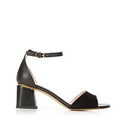 Damskie sandały zamszowe z ukośnym słupkiem, czarny, 92-D-957-1-37, Zdjęcie 1