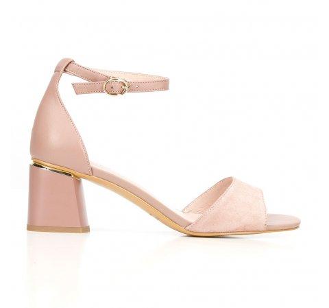 Damskie sandały zamszowe z ukośnym słupkiem, nude, 92-D-957-9-40, Zdjęcie 1