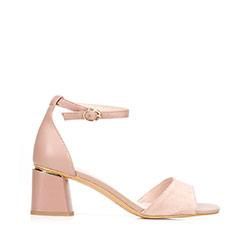 Damskie sandały zamszowe z ukośnym słupkiem, jasny beż, 92-D-957-9-39, Zdjęcie 1