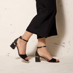Damskie sandały zamszowe z ukośnym słupkiem, czarny, 92-D-957-1-39, Zdjęcie 1