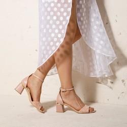 Damskie sandały zamszowe z ukośnym słupkiem, nude, 92-D-957-9-39, Zdjęcie 1