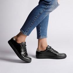 Damskie skórzane sneakersy klasyczne, czarny, 92-D-350-1-35, Zdjęcie 1