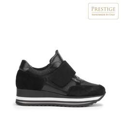 Damskie sneakersy zamszowe na rzep na platformie, czarny, 93-D-654-1-36, Zdjęcie 1