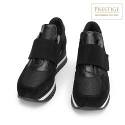 Damskie sneakersy zamszowe na rzep na platformie, czarny, 93-D-654-1-35, Zdjęcie 1