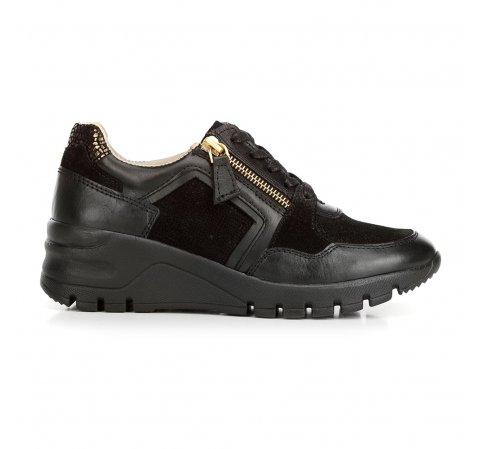Damskie sneakersy skórzane na koturnie, czarny, 92-D-301-7-37, Zdjęcie 1