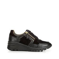 Damskie sneakersy skórzane na koturnie, czarny, 92-D-301-1-37, Zdjęcie 1