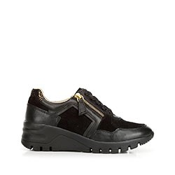 Damskie sneakersy skórzane na koturnie, czarny, 92-D-301-1-39, Zdjęcie 1