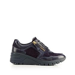 Damskie sneakersy skórzane na koturnie, granatowy, 92-D-301-7-40, Zdjęcie 1