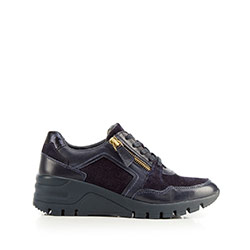 Damskie sneakersy skórzane na koturnie, granatowy, 92-D-301-7-41, Zdjęcie 1
