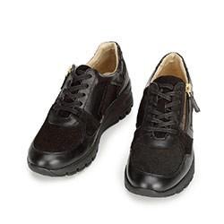 Damskie sneakersy skórzane na koturnie, czarny, 92-D-301-1-41, Zdjęcie 1