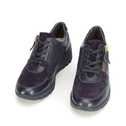 Damskie sneakersy skórzane na koturnie, granatowy, 92-D-301-7-39, Zdjęcie 1