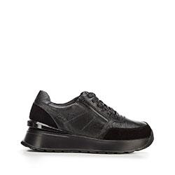 Damskie sneakersy skórzane na platformie, czarny, 92-D-963-1-37, Zdjęcie 1