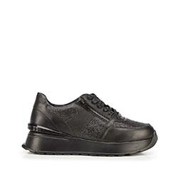 Damskie sneakersy skórzane na platformie, czarny, 92-D-963-1B-35, Zdjęcie 1