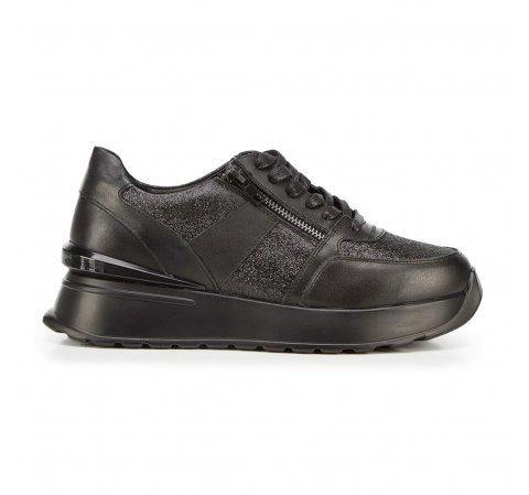 Damskie sneakersy skórzane na platformie, czarno - srebrny, 92-D-963-1-37, Zdjęcie 1