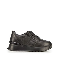 Damskie sneakersy skórzane na platformie, czarno - srebrny, 92-D-963-1B-40, Zdjęcie 1