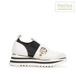 Damskie sneakersy skórzane na platformie ażurowe, biało - czarny, 92-D-135-0-35, Zdjęcie 1