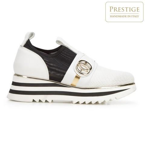 Damskie sneakersy skórzane na platformie ażurowe, biało - czarny, 92-D-135-0-41, Zdjęcie 1