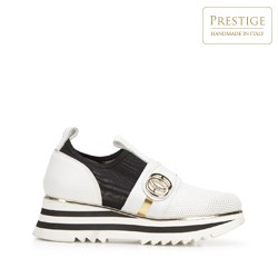 Damskie sneakersy skórzane na platformie ażurowe, biało - czarny, 92-D-135-0-36, Zdjęcie 1
