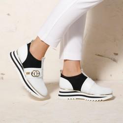 Damskie sneakersy skórzane na platformie ażurowe, biało - czarny, 92-D-135-0-37, Zdjęcie 1