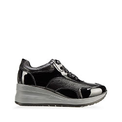 Damskie sneakersy ze skóry na platformie, czarno - szary, 92-D-964-0-39, Zdjęcie 1
