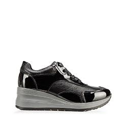 Damskie sneakersy ze skóry na platformie, czarno - szary, 92-D-964-0-40, Zdjęcie 1