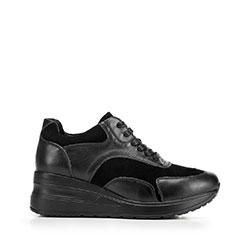 Damskie sneakersy ze skóry na platformie, czarny, 92-D-964-G-35, Zdjęcie 1