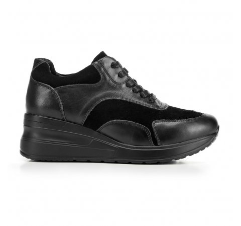 Damskie sneakersy ze skóry na platformie, czarny, 92-D-964-0-35, Zdjęcie 1