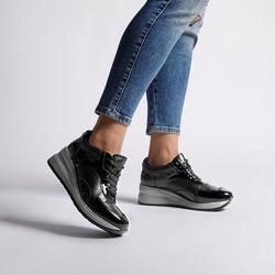 Damskie sneakersy ze skóry na platformie, czarno - szary, 92-D-964-0-36, Zdjęcie 1