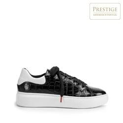 Damskie sneakersy z lakierowanej skóry o krokodylej fakturze, czarno - biały, 93-D-300-1W-36, Zdjęcie 1