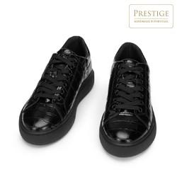 Damskie sneakersy z lakierowanej skóry o krokodylej fakturze, czarny, 93-D-300-1-38, Zdjęcie 1