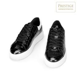Damskie sneakersy z lakierowanej skóry o krokodylej fakturze, czarno - biały, 93-D-300-1W-37, Zdjęcie 1