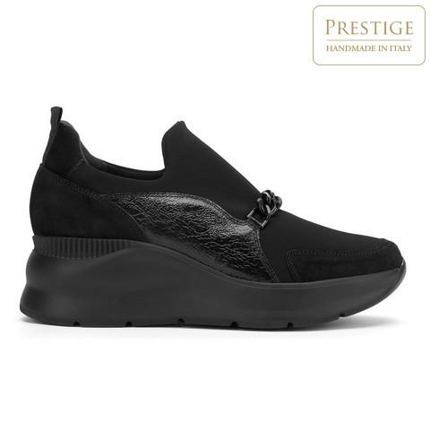 Damskie sneakersy zamszowe z łańcuchem, czarny, 93-D-653-X1-40, Zdjęcie 1