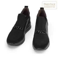 Damskie sneakersy zamszowe z łańcuchem, czarny, 93-D-653-1-40, Zdjęcie 1