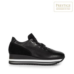 Damskie sneakersy z trzech rodzajów skóry na platformie, czarny, 93-D-652-1-38, Zdjęcie 1