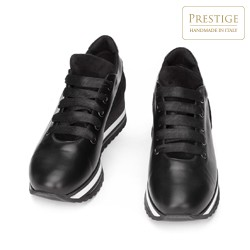 Leather fashion flatform trainers, black, 93-D-652-1-37, Photo 1