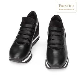 Damskie sneakersy z trzech rodzajów skóry na platformie, czarny, 93-D-652-1-39, Zdjęcie 1