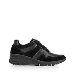 Damskie sneakersy ze skóry na koturnie, czarny, 92-D-300-1-36, Zdjęcie 1