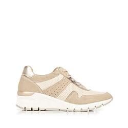 Damskie sneakersy ze skóry na koturnie, beżowy, 92-D-300-9-36, Zdjęcie 1
