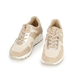 Damskie sneakersy ze skóry na koturnie, beżowy, 92-D-300-9-40, Zdjęcie 1