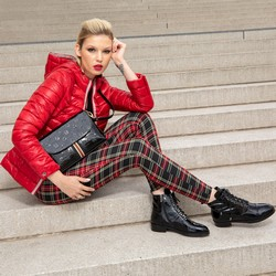 Patent leather lace up boots, black, 93-D-955-1-36, Photo 1