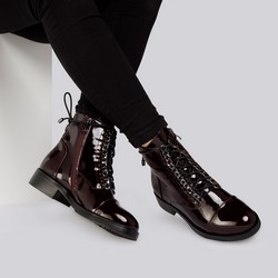 Patent leather lace up boots, burgundy, 93-D-955-3-41, Photo 1