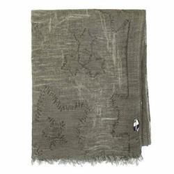 Large cotton shawl, khaki green, 91-7D-X20-7, Photo 1