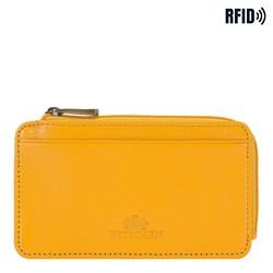 Etui na karty kredytowe skórzane na zamek, żółty, 21-2-290-YL, Zdjęcie 1