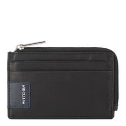 Zipped credit card case with logo detail, black-navy blue, 26-2-090-17, Photo 1