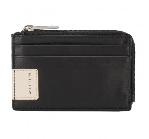 Zipped credit card case with logo detail, black-beige, 26-2-090-17, Photo 1