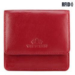 Damski portfelik ze skóry kwadratowy, czerwony, 26-2-443-3, Zdjęcie 1