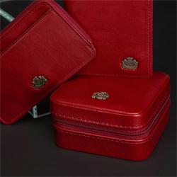 Etui na karty skórzane z herebm  z zapięciem, czerwony, 10-2-290-3L, Zdjęcie 1