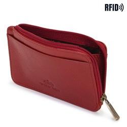 Etui na karty kredytowe skórzane na zamek, czerwony, 21-2-290-3L, Zdjęcie 1