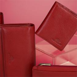 Etui na karty skórzane klasyczne, czerwony, 21-2-291-3L, Zdjęcie 1